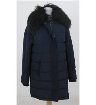 NWOT: M&S Size 8: Navy blue padded overcoat with faux fur collar