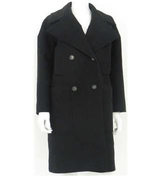 "Tara Jarmon Size 12 Charcoal Grey ""Oversized"" Wool Overcoat"