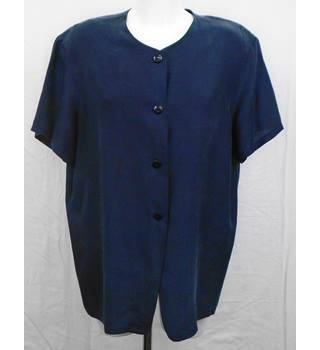 Dorothy Perkins navy silk blouse Size 14