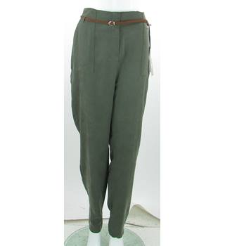 BNWOT Per Una - Size: 14 Long - Khaki - Peg Leg Trousers With Braided Belt