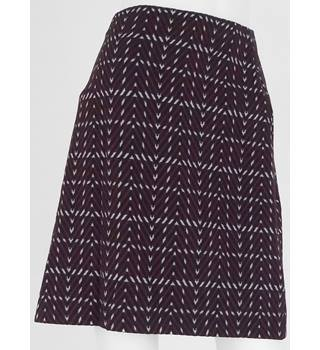 Marks & Spencer Collection Burgundy/Black/Cream Stretch Mini Skirt UK Size 14 / Euro Size 42