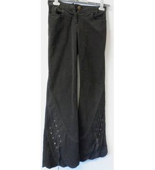 On N'est Pas Des Anges - Size 10 - Black velvet effect - Trousers with laced flared bottoms