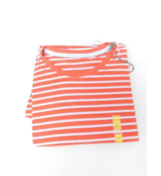 NWOT M&S Collection Size L Red and Grey Striped T-Shirt