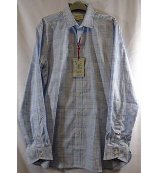 New Ted Baker Endurance Men's Shirt - BNWT - Size 16 - Pale Blue Small Check