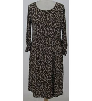 Nina Leonard: Size M: Brown mix animal print fit and flare dress