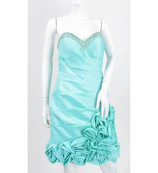 BNWT Gino Cerruti - Size: 12 - Pale Mint Green - Beaded Prom Dress With Fabric Flowers
