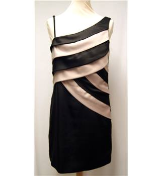 New Look Size 12 Black with black & cappucino coloured stripes sleeveless dress