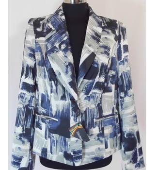 BNWT Kaleidoscope - size 14, grey and blue patterned jacket