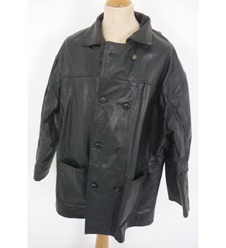 "Leathermaster Size: XL, 46"" chest, mid length Black Casual/Modish Real Leather Double Breasted Car Coat"