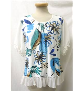 One by One - size: 12, white with blue, green and brown floral patterned top