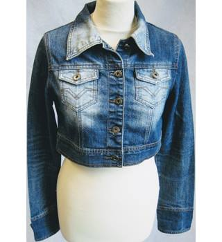 Justboy Jeans cropped stretch denim trucker jacket size L Justboy Jeans - Size: L - Blue - Casual jacket / coat