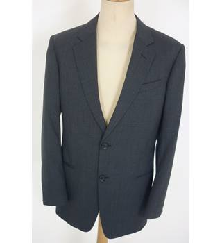 "Armani Size: M, 41"" chest, tailored fit  Navy Blue Prince of Wales Check Stylish Wool Blend Designer Single Breasted Jacket"