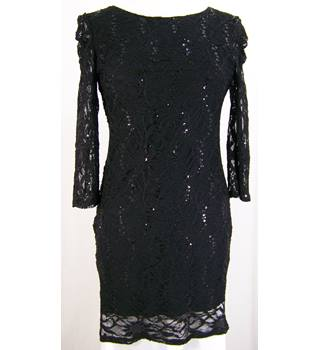 Evie - Size: 12 - Black - lined lace dress with sparkle
