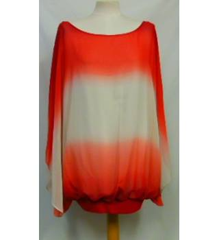 Live Unlimited London - Size 28 - Red and white fading tone batwing top