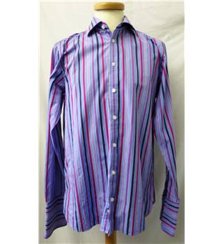 Marks & Spencer - Size: L - Blue with magenta, light pink and dark blue stripes - Long sleeved shirt