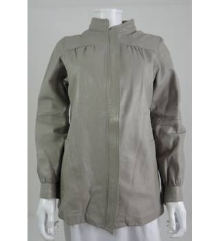 Wallace Sacks Size 12 Oyster Grey Leather Jacket