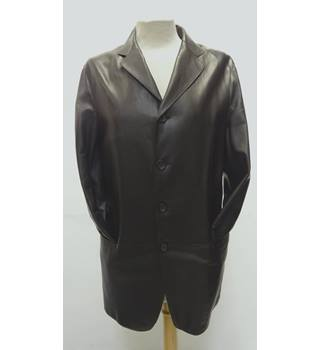 ARMANI LEATHER JACKET - Size: L - Brown