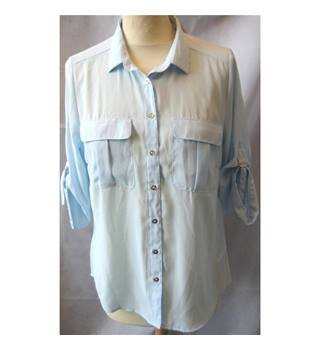 H&M - Size 10 - Blue with silver front fastening buttons shirt