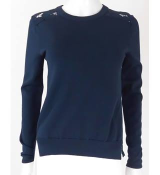 Whistles Size 6 Navy Blue Lace Jumper/Top