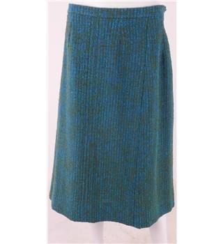 "Vintage Aquascutum 34"" waist Peacock Green Wool, Tweed Effect Knee-Length Skirt"