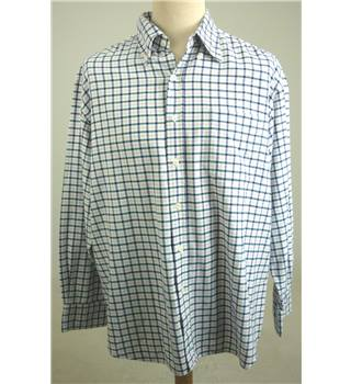 The Savile Row Company Size: L Cream, Blue & Pink Check Casual Long Sleeved Shirt