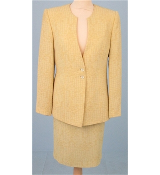 Jacques Vert size 10/12 pale gold textured skirt suit