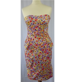 New Look - size 8, multi-coloured strapless dress