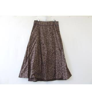 Fat Face - Size: 8 - Brown Patterned- Knee Length Skirt