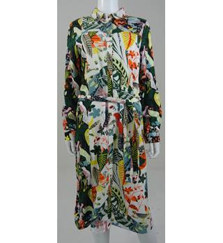 NWOT - M&S - Size 12 - White with exotic floral pattern - long sleeve dress
