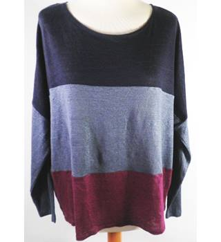 East size M Tricolour (Navy, Blue and Purple) Horizontally Striped Top