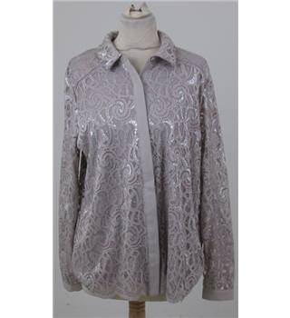 Per Una size: L, beige and silver long sleeved blouse