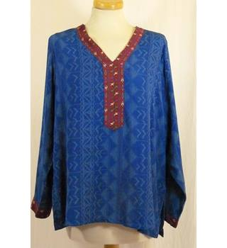 Blue Loose Fit Long Sleeve Blouse from BIBA