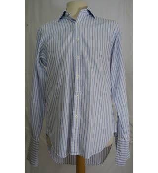"T.M.Lewin Size: 15"" collar blue/white striped long sleeve shirt"