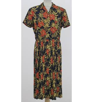 Eastex: Size 12: Navy with orange & yellow floral design dress