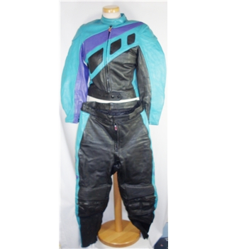 Polo Sports size: 14  turquoise / purple / black leather motorcycle suit
