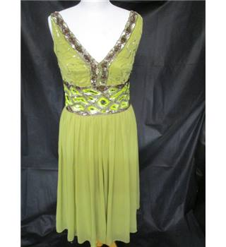Today's Woman Size 10 Sage Green with Sequins Lined Dress