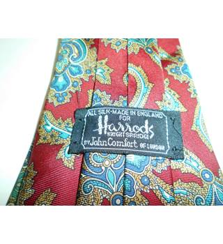 Harrods Red and Blue Baroque Pattern Silk Tie
