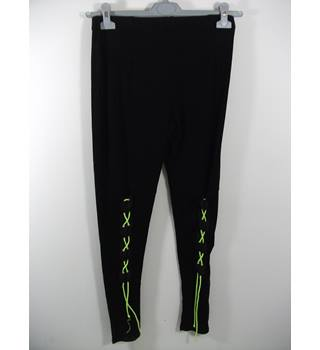 NEW ASOS Black Leggings with Neon Green Lace up Panel at the back Size 10