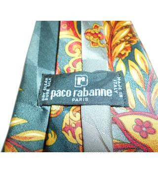 Paco Rabanne Grey and Gold Floral Silk Tie
