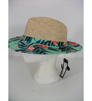 Marks & Spencer Natural Straw Sun Hat with Tropical Print Boarder Size S / M