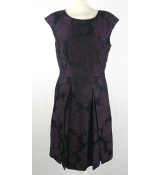 Jigsaw - Size: 12 - black with Purple Floral Cocktail Dress