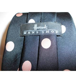 Harrods Black and Pink Polkadot Silk Tie