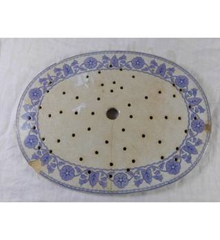 Antique 19th Century Pierced Holes Blue and White Meat Platter