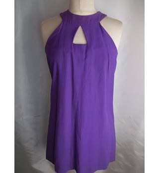 Original Vintage 1960's Purple Halter Neck Mini Dress - Size Small