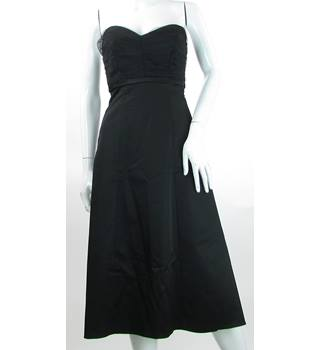 Coast - Size: 8 - Black - Evening Dress With Ruched Netting Bodice