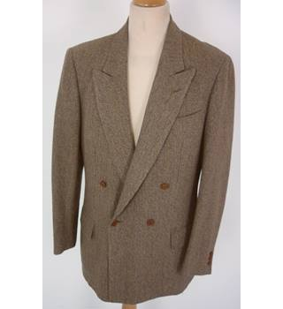 "Harvey Nichols  Size: M, 41"" chest, trld fit  Brown, Pearl & Blue Woven Pattern Stylish Wool Designer Double Breasted Jacket"