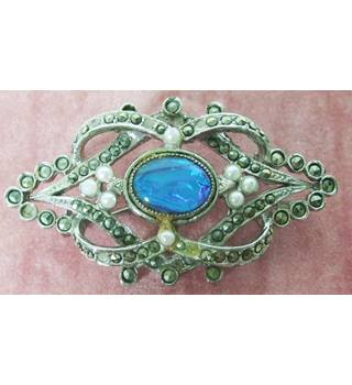 Marcasite Brooch With Tiny Faux Pearls and Turquoise Glass Stone