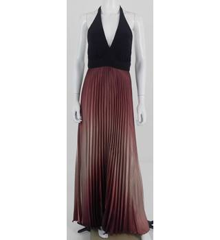 Betsy & Adam by Linda Bernell Size 6 Black and Dusky Pink/Maroon Ombre Long Halter Neck dress