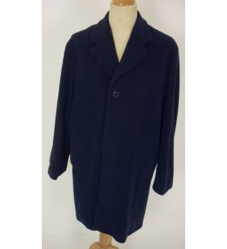 "Daniel Hechter Size: M, 40"" chest, regular length Dark Navy Blue Stylish Wool & Cashmere Blend Single Breasted Over Coat"