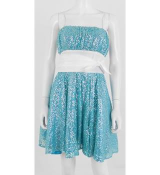 Betsey Johnson Evening Size 6 Turquoise Blue Sequined Short Dress.